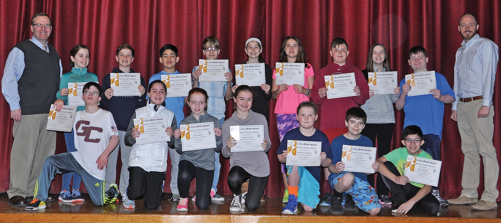 receiving kindness counts awards from garden city middle school for the month of february - Garden City Middle School